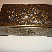 Embossed Silver Plated Over Copper Cigarette Box