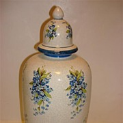 Vintage Crackle Glaze Pottery Vase With Beautiful Floral Cartouches