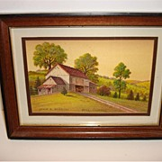 "Vintage Water Color by John E. Bradley ""Hill Country"""