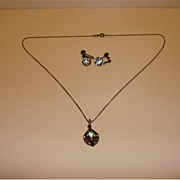 Vintage 935 Sterling Necklace And Earring Set With Colorful Crystal Stones