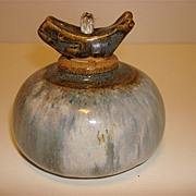 Pottery Oil Lamp With A Whale Stopper And Signed Nora