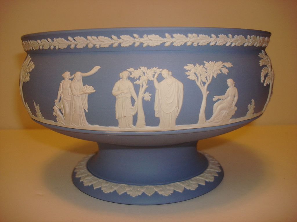 Wedgwood Light Blue Jasper Footed Large Bowl From