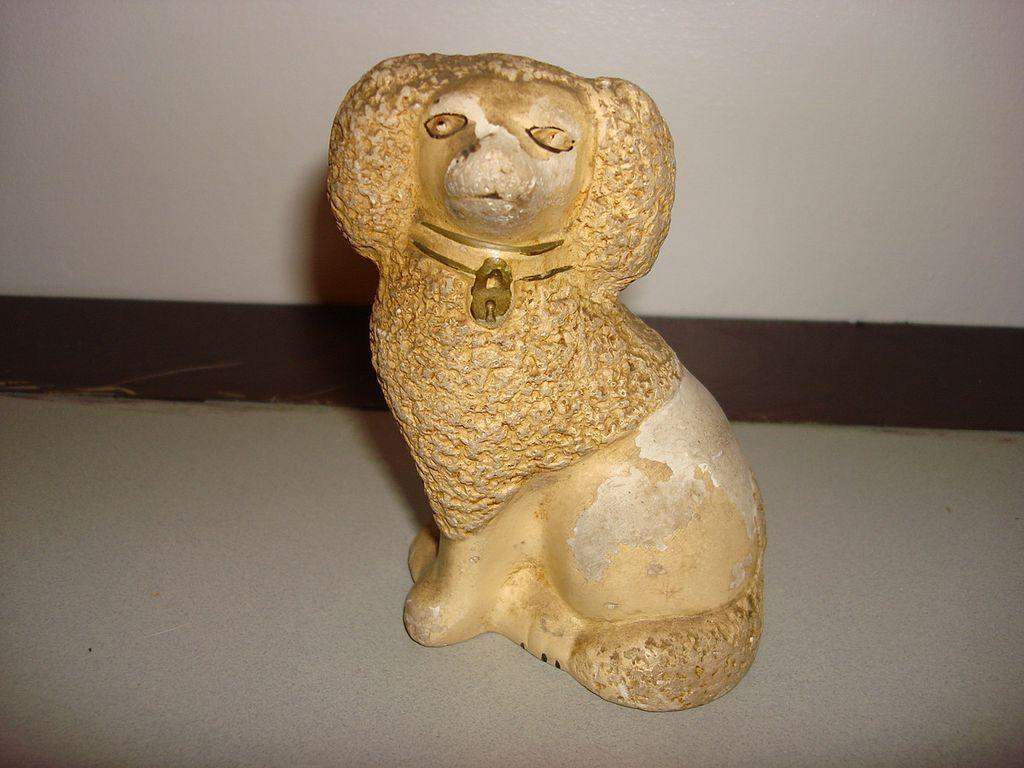 Vintage Staffordshire Chalkware Poodle Figurine