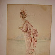 Victorian Lady By The Shore Water Color Signed HRL - 1899