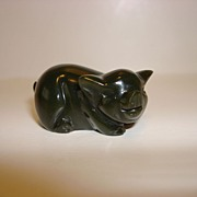 Vintage Miniature Green Carved stone Piggy
