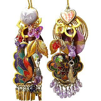 Cloisonne Gardens - Out of My Mind Asymmetrical Earrings