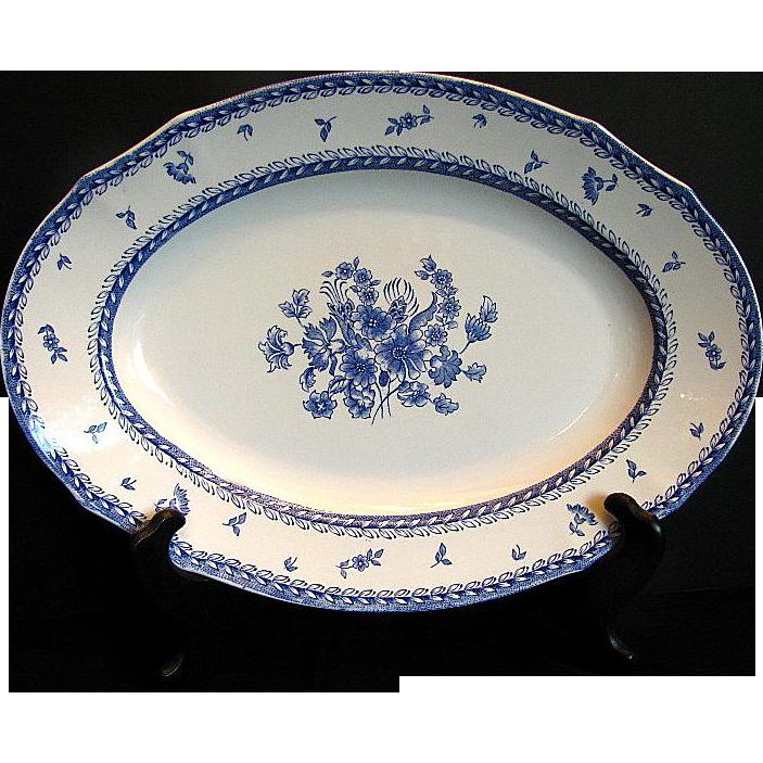 "Arabia of Finland Platter, Large Oval, Blue & White, ""Finn Flower Blue"" Pattern"