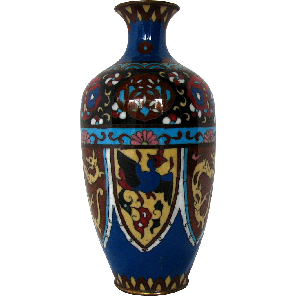 Japanese cloisonne vase 7 stylized phoenix dragon owens japanese cloisonne vase 7 stylized phoenix dragon owens antiques ruby lane reviewsmspy