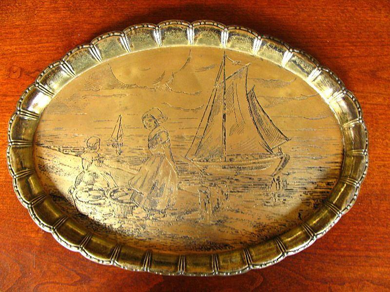 Antique Brass Tray Engraved with Dutch Girls & Boats