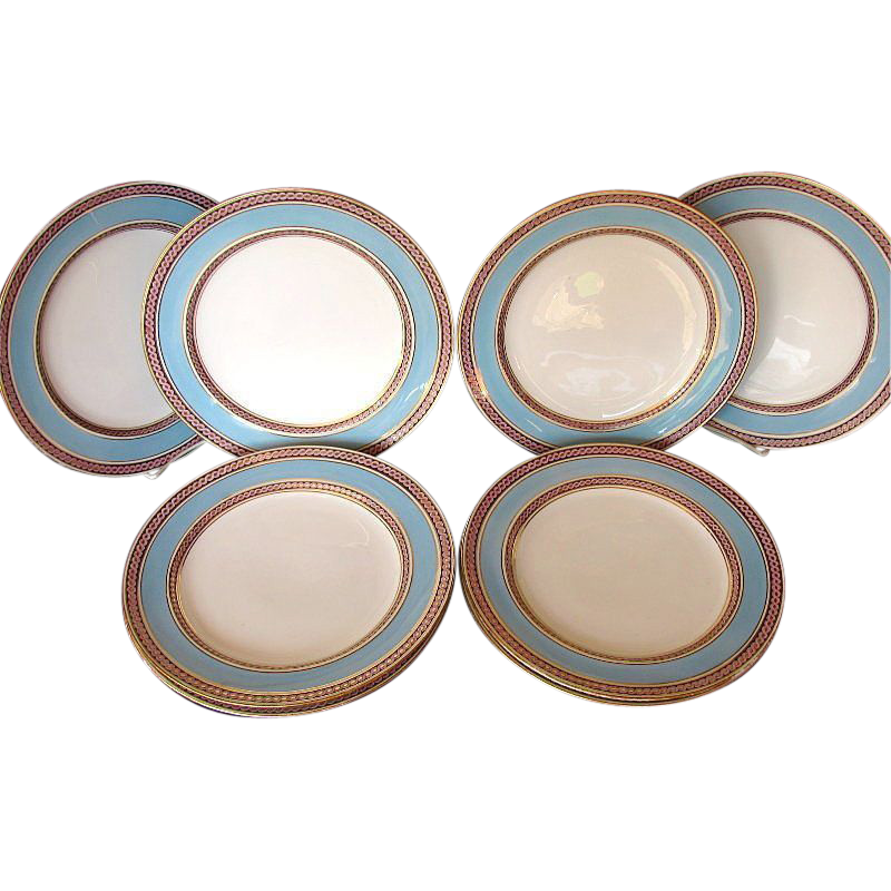Minton Dinner Plates, Set of 8, Blue & Pink, c 1865  Antique English