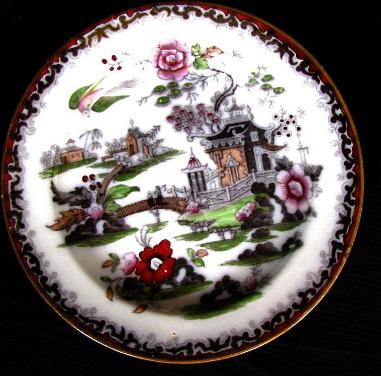 Chinoiserie Plate Bowers Quot Pekin Quot Pattern Antique 19th C