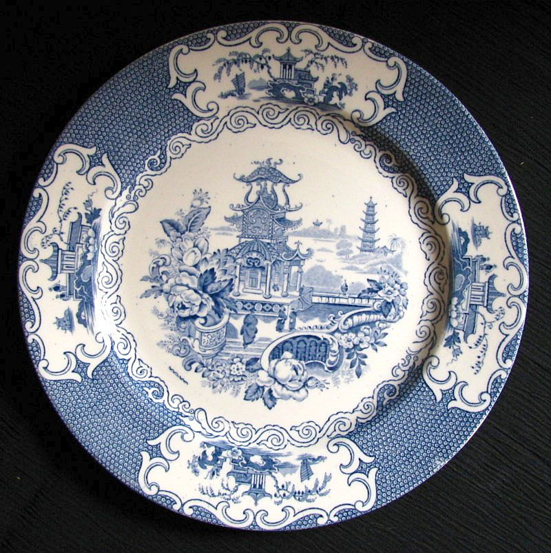 "Allertons Plate, ""Chinese"" Pattern Blue Transferware, Vintage English Chinoiserie"