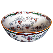 Mason Ironstone Large Bowl, Chinoiserie, Antique 19th C Ashworth