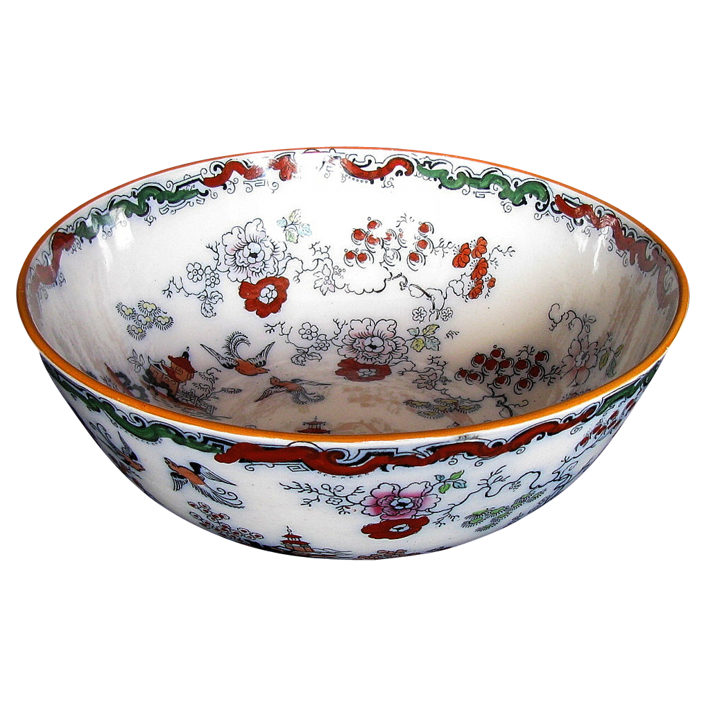 Mason Ironstone Large Bowl Chinoiserie Antique 19th C