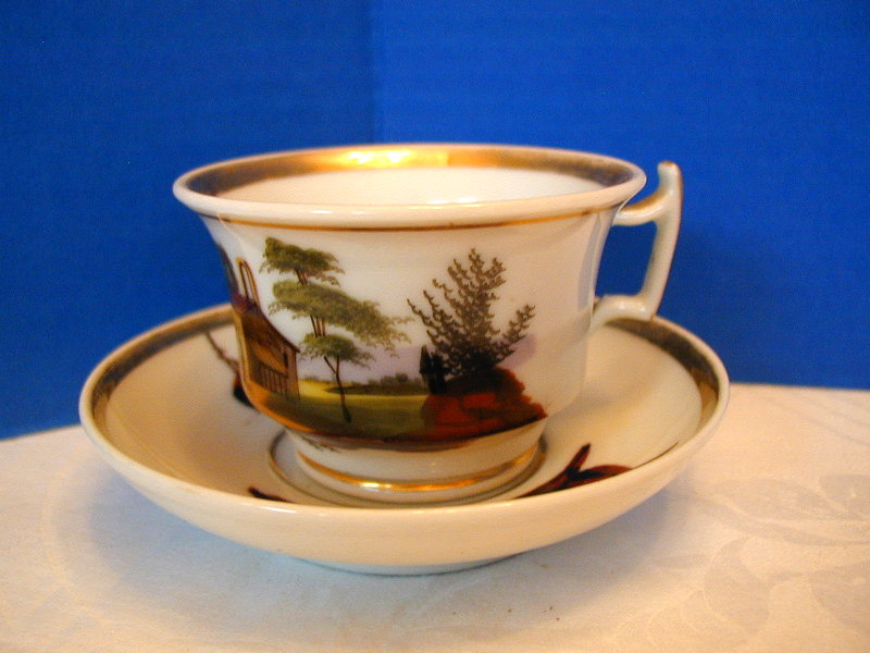 Paris Porcelain Cup & Saucer, Hand Painted Scenes, Antique 19th C