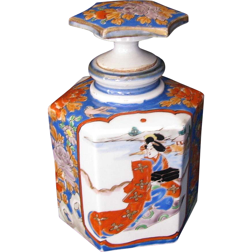 Arita  Perfume Bottle Decanter,  Antique Meiji Japanese Porcelain,  Hichozan