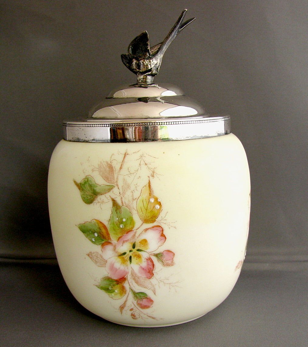 Wave Crest Biscuit Barrel/Jar, Antique American Art Glass