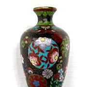 Japanese Cloisonne Vase, Small, Antique Meiji Era