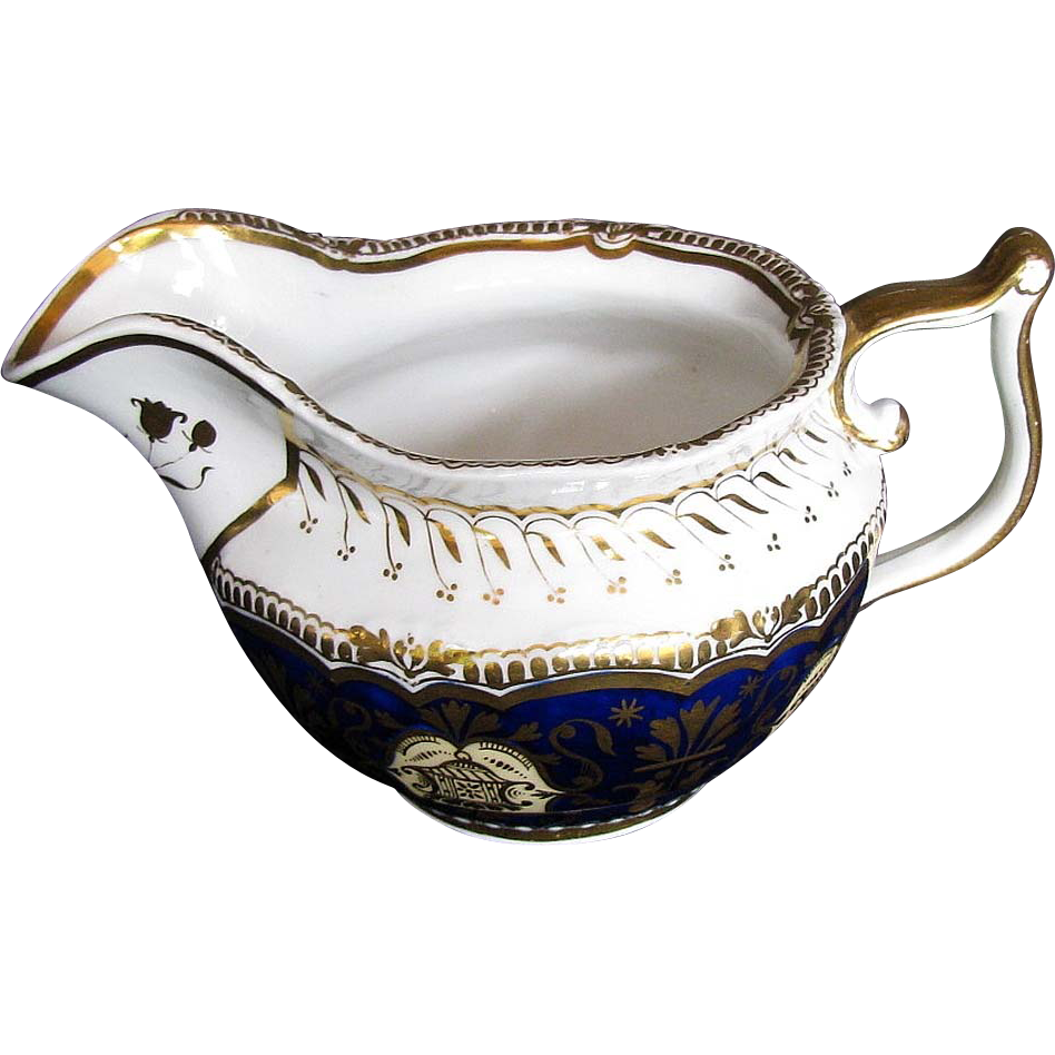 English Porcelain Creamer, Blue w/Gilding, Birdcage, John Yates,  Antique 19th C
