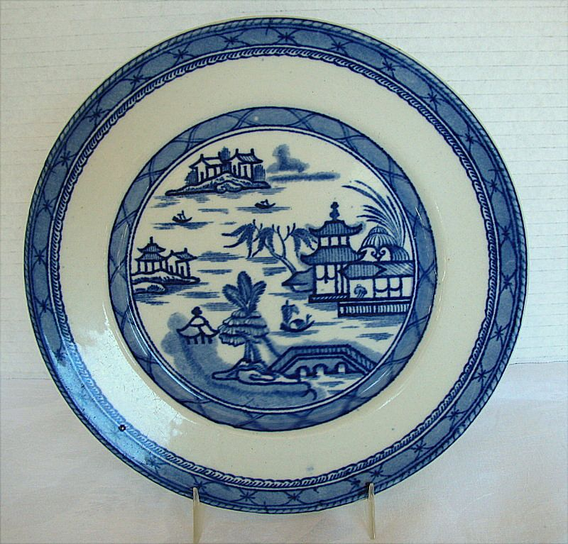 "Ashworth Ironstone Blue & White Chinoiserie Plate,  ""Real Old Canton"""
