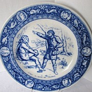 Wedgwood Plate, Flow Blue Ivanhoe Transferware Series, Wamba & Gurth the Swineherd