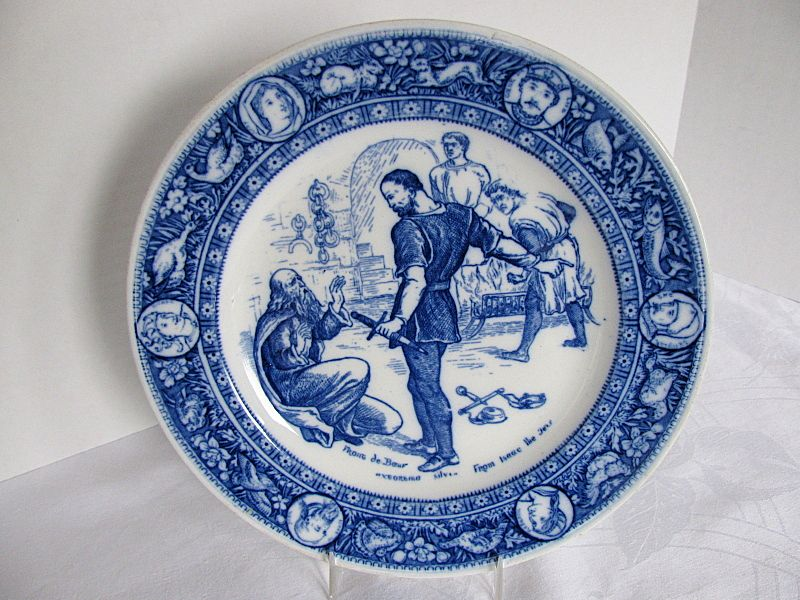 Wedgwood Plate,  Flow Blue Ivanhoe Transferware Series, Front de Boeuf  Extorting Silver from Isaac