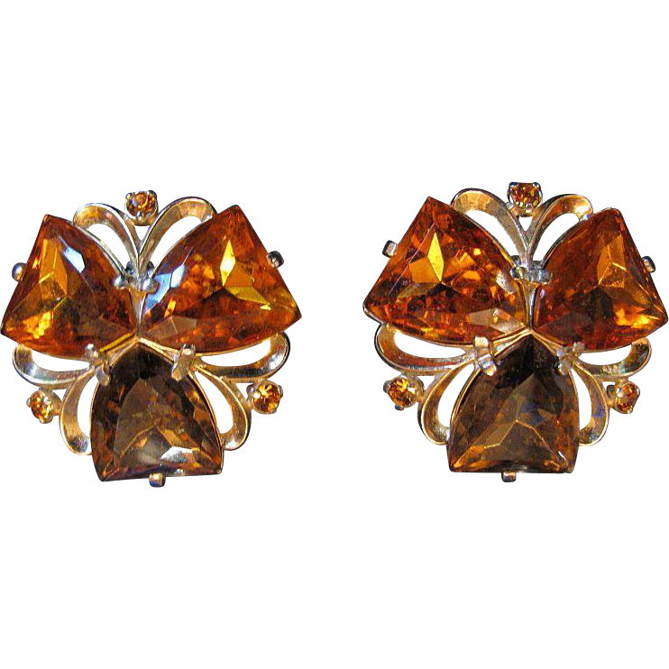 Signed Elsa Schiaparelli Earrings, Large Topaz & Citrine Faux Stones, Clip, Patented