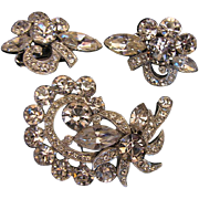 Signed Eisenberg Ice Demi Parure Clear Brooch & Earring Set, Vintage