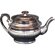 English Silver Lustre Teapot, Antique, Early 19th C Pottery