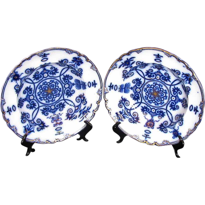 Early Flow Blue Soup Plates, a Pair, Pearlware,  Antique 19th C English