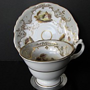 Staffordshire Porcelain Cup & Saucer, Handpainted Landscapes, Antique, c 1835