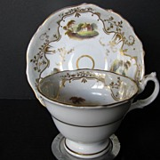 English Porcelain Cup & Saucer, Handpainted Scenes, Antique, c 1835
