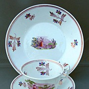 Pink Lustre Tea Cup, Saucer & Plate, English Soft Paste Porcelain, Antique Early 19th C