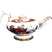Rare C.J.  Mason Bone China Teapot,  Blue, Red & Gilt, Chinoiserie, Antique Early 19th C