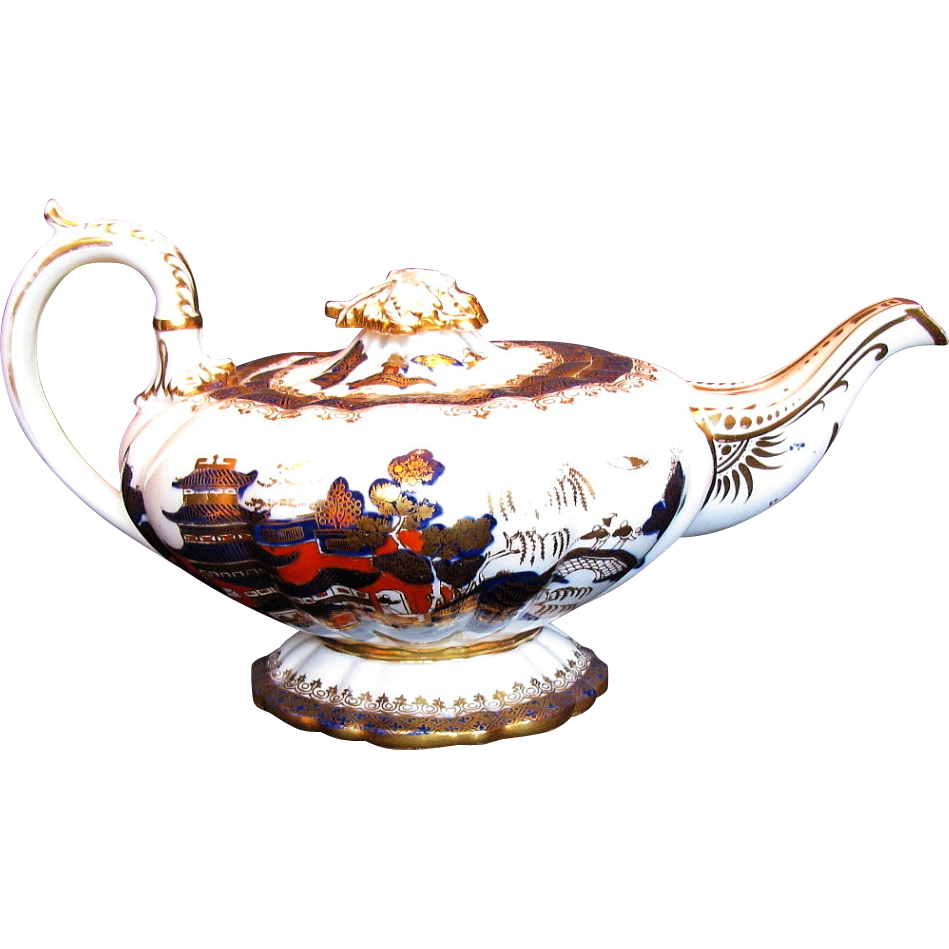 Rare C.J.  Mason Bone China Teapot,  Blue, Red & Gilt, Chinoiserie, Antique c 1835