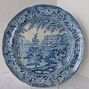 "Mason Semi-China Plate, Blue & White, ""Fountain"", Antique Early 19th C"