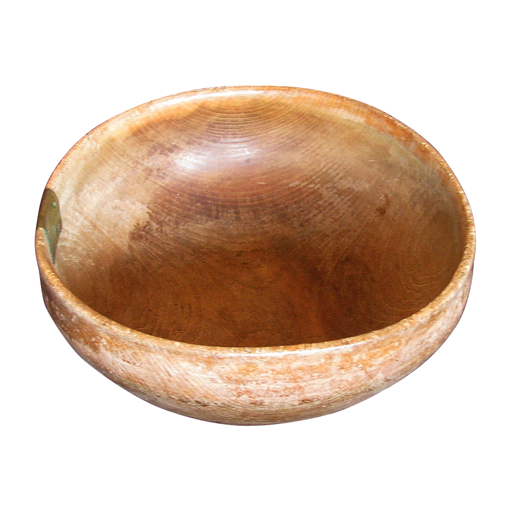 18th Century Turned Wood Bowl,Treen,  Dated 1780,  with an Early Repair