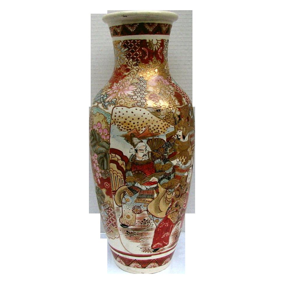 """Large Satsuma Vase, Samurai & Scholars, Antique  Meiji Era, 18"""""""