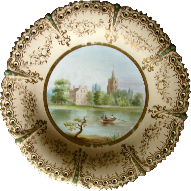 "Cabinet Plate, Named View """"Fulham Church"", Pierced & Jeweled, 19th C English Porcelain"
