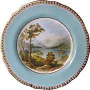 "Cabinet Plate, Named View ""Derwent Water Cumberland"", Antique 19th C  English Porcelain"