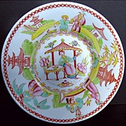 "Chinoiserie Saucer, ""Architectural Draughtsman"", Antique 19th C English"