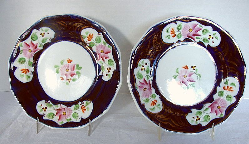 Gaudy Welsh Plates (Pair), Columbine Pattern,  Antique 19th C