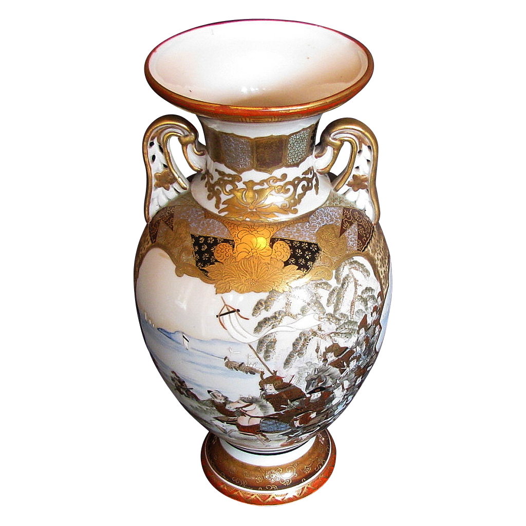 Large Kutani Vase, Satsuma Style Decoration, Samurai on Horseback, Antique Japanese Meiji Era