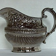 Silver Lustre Cream Jug/ Creamer, Antique 19th C English Pottery