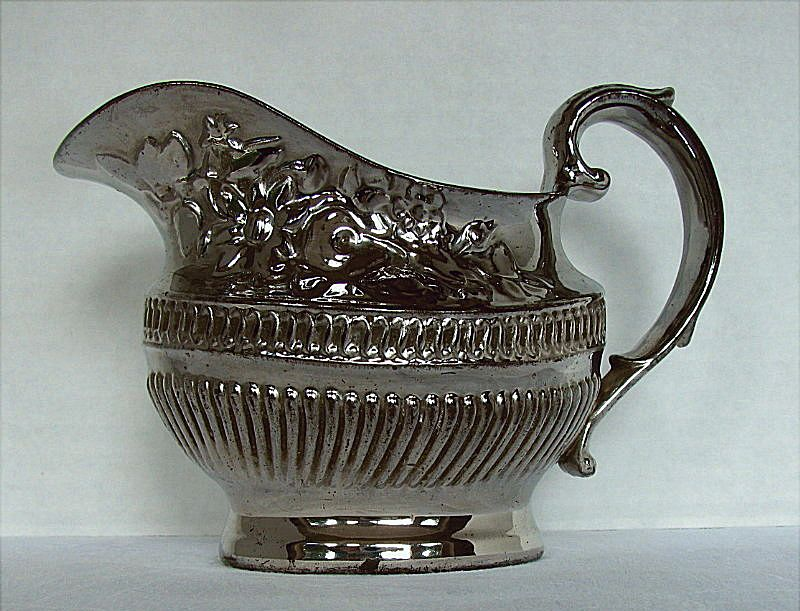 Silver Lustre Cream Jug/ Creamer, Antique Early 19th C English Pottery
