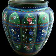Japanese Cloisonne Vase, Large, Melon Lobed with Wide Mouth, Antique Meiji Era