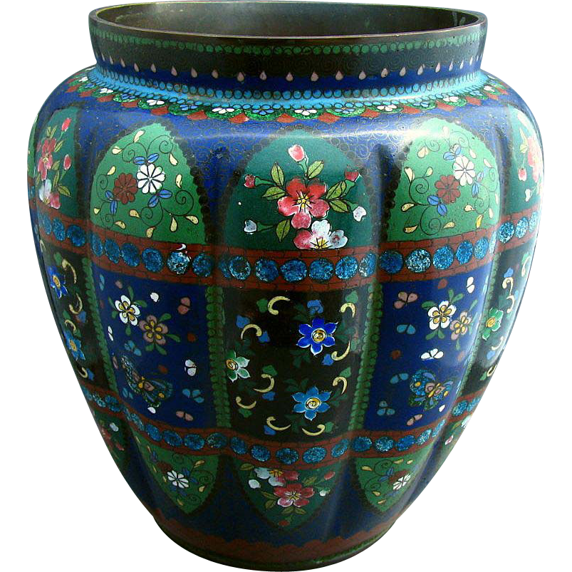 Japanese Cloisonne Vase Large Melon Lobed With Wide Mouth Antique Meiji Era