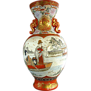 Large Kutani Vase, Family Boating Scene, Japanese Antique Meiji Era