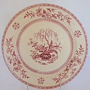 Furnival Plate, Red Transferware,  Ceylon Pattern, Antique 19thC English