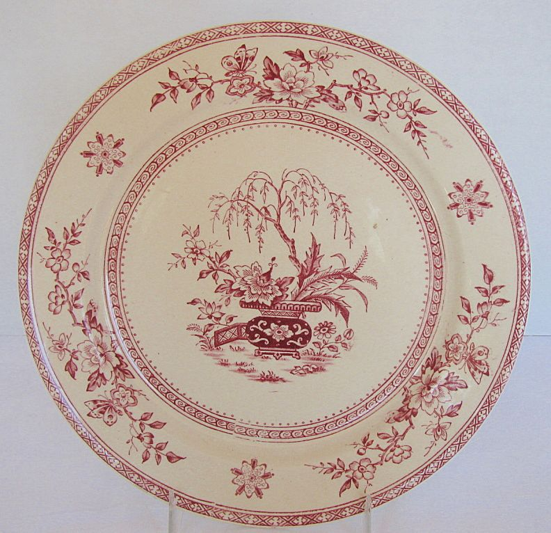 Furnival Plate, Red Transferware,  Ceylon Pattern, Antique 19th C English